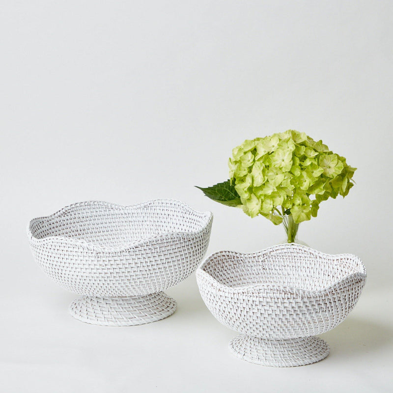 White Scalloped Rattan Bowl (Large)