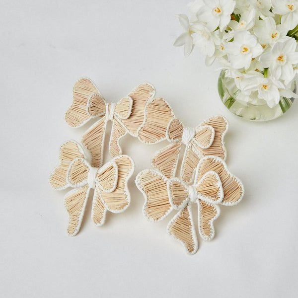 White Rattan Napkin Bows (Set of 4)