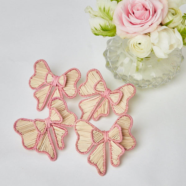 Pink Rattan Napkin Bows (Set of 4)