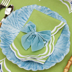 Blue Velvet Napkin Ring Bows (Set of 4)