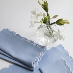 BLUE SCALLOPED LINEN NAPKINS & PLACEMATS - SET OF 4