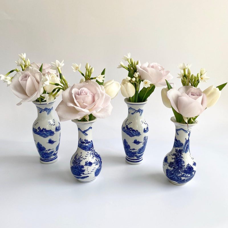 Blue and White Bud Vases (Set of 4)