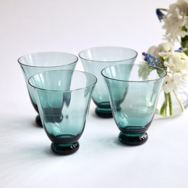Blue Tulip Water Glasses (Set of 4)