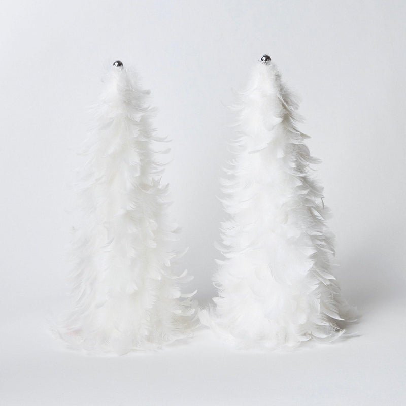 Large Snow White Feathered Tree (Pair)