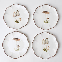 Scalloped Mushroom Starter Plates (Set of 4)