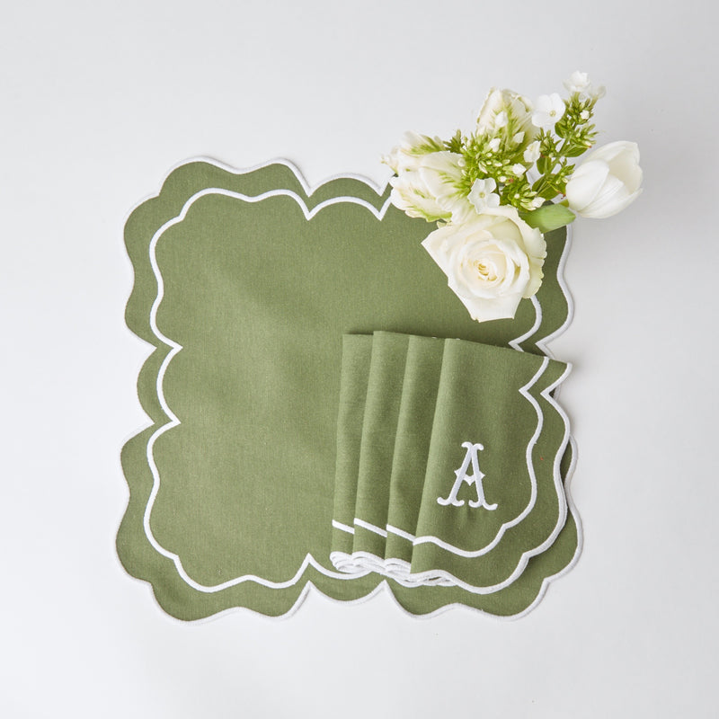 Nancy Olive Placemats & Napkins (Set of 4)