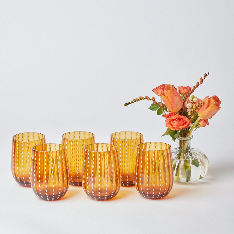 Amber Speckle Water Glasses (Set of 6)