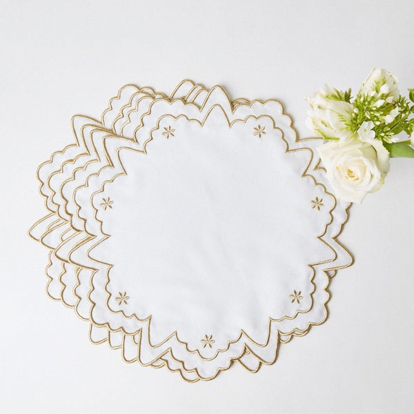 Gold Snowflake Embroidered Placemats (Set of 4)