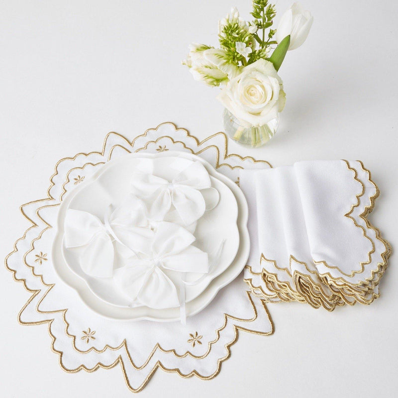 Snow White Velvet Napkin Bows (Set of 4)
