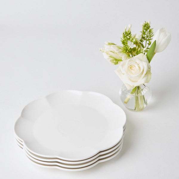 White Scalloped Dinner Plate