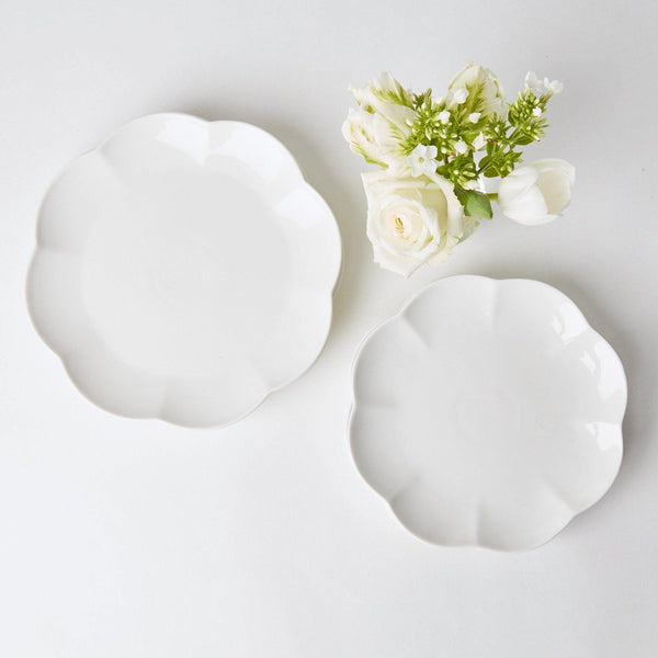 White Scalloped Starter Plate