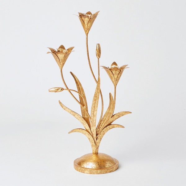 Gold Petal 3 Tier Candle Holder