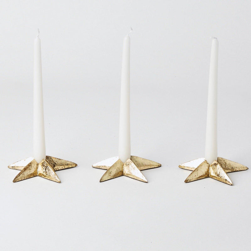 Gold Star Candle Holders (Set of 3)