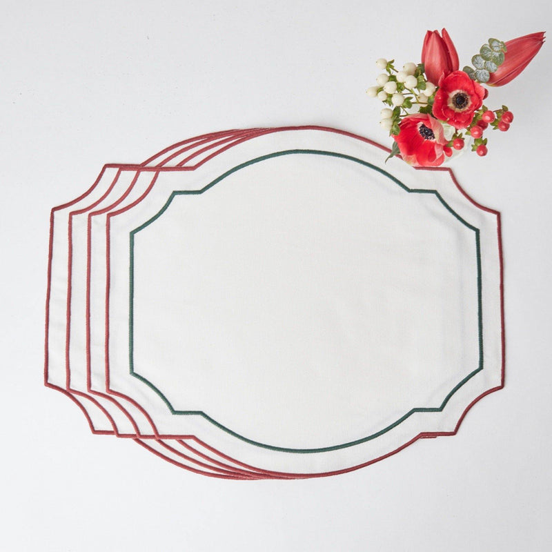 Candy Cane Embroidered Placemats (Set of 4)