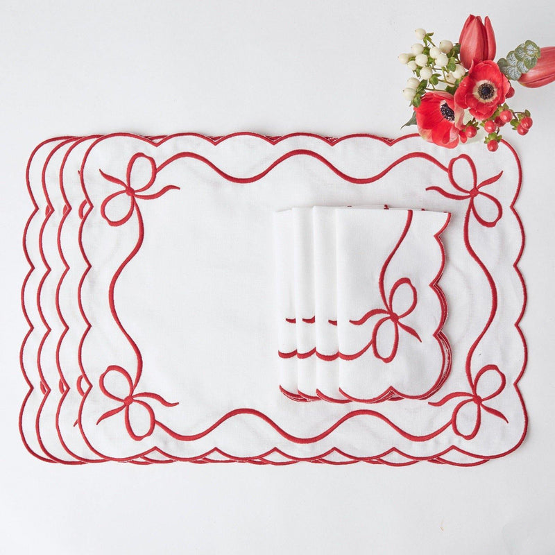 Red Embroidered Bow Placemats & Napkins (Set of 4)