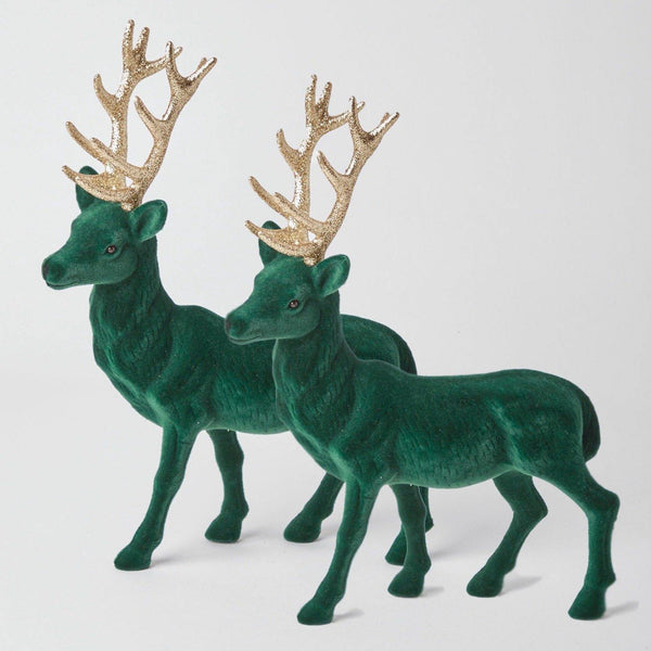 Large Green Flocked Reindeer (Pair)