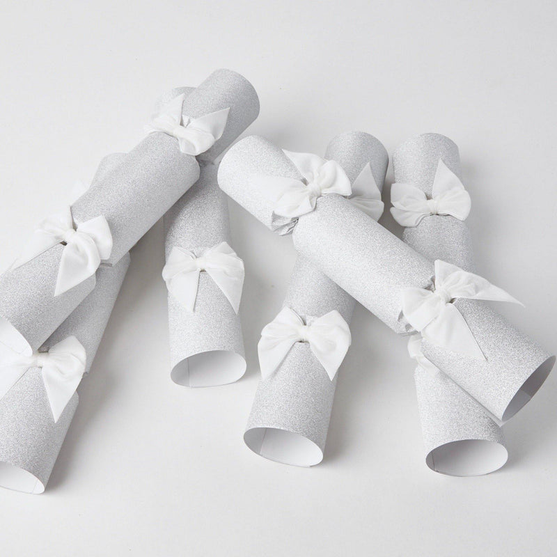 Silver Glitter Crackers with White Velvet Bows (Set of 6)