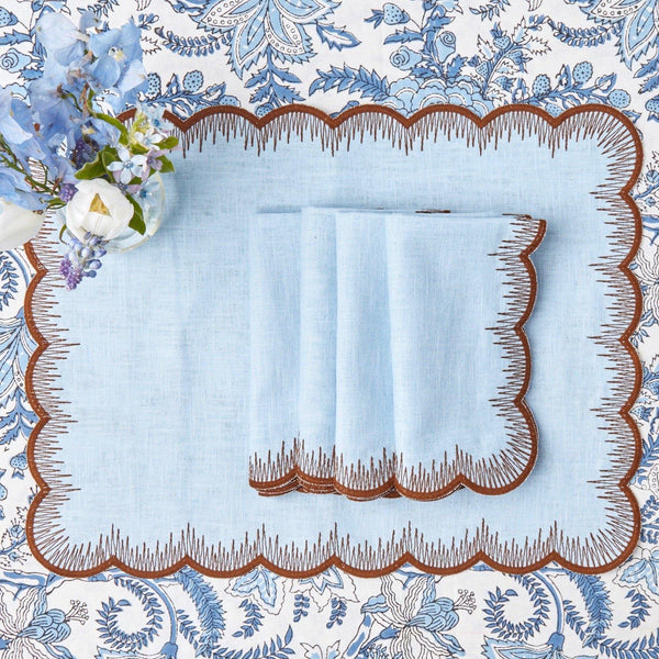 Blue Isabella Linen Placemats & Napkins (Set of 4)