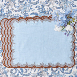 Blue Isabella Linen Placemats (Set of 4)