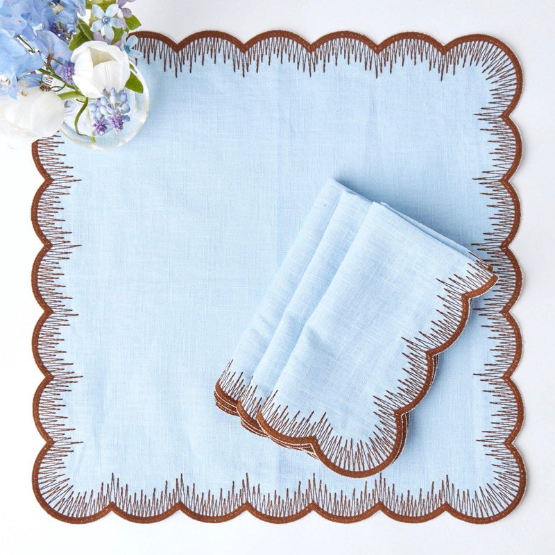 Blue Isabella Linen Napkins (Set of 4)