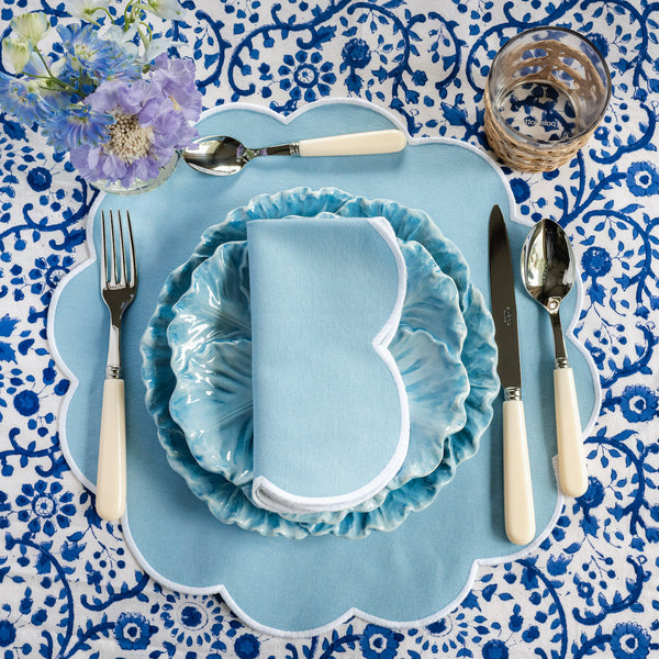 Summer Scalloped Cornflower Blue Napkins & Placemats (Set of 4)