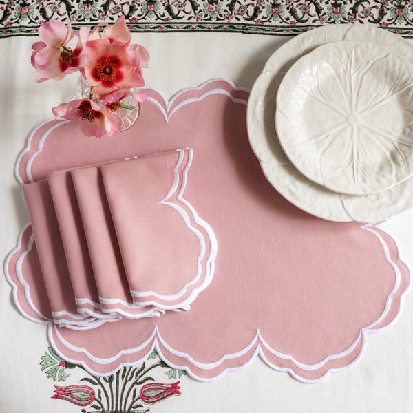 Serena Blush Pink Napkins and Placemats (Set of 4)