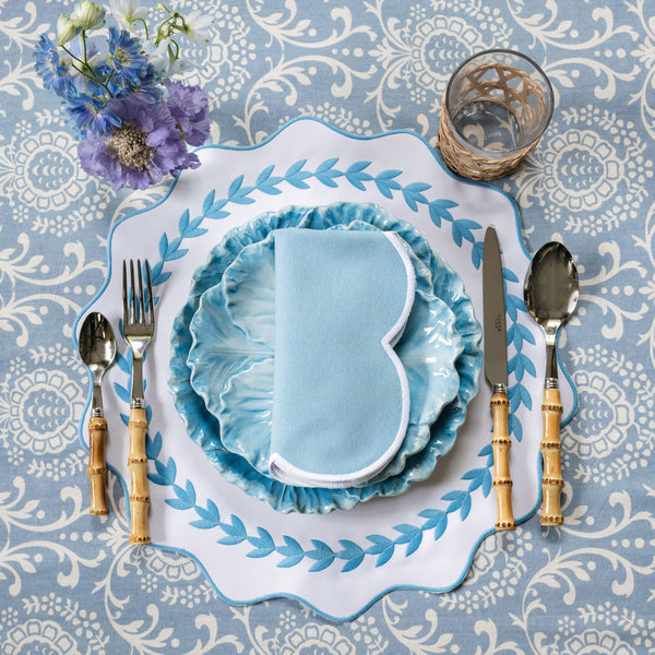 Sky Blue Pomegranate Blossom Tablecloth