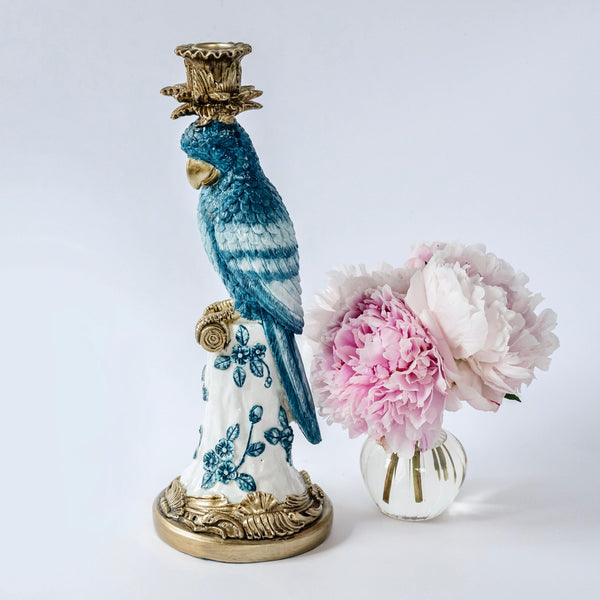 Blue & White Parrot Candle Holder