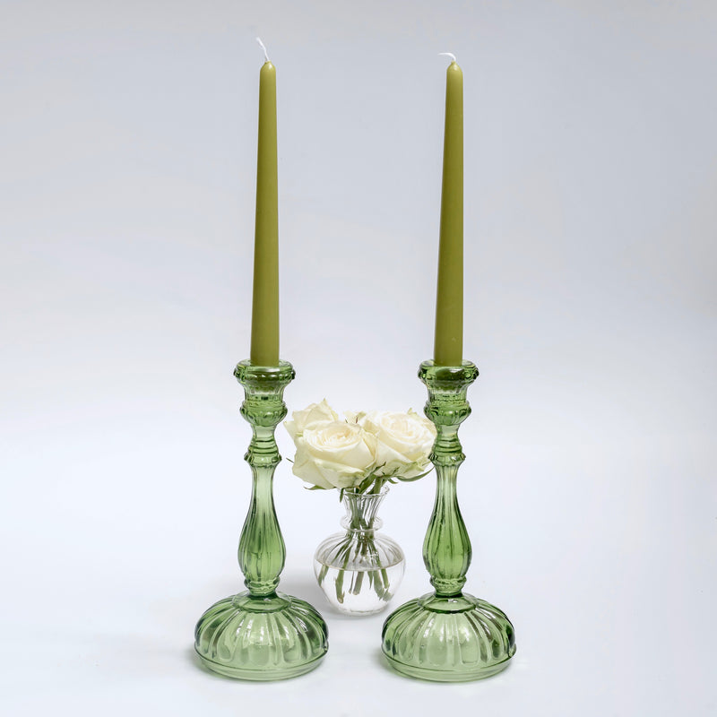 Green Glass Candle Holders (pair)