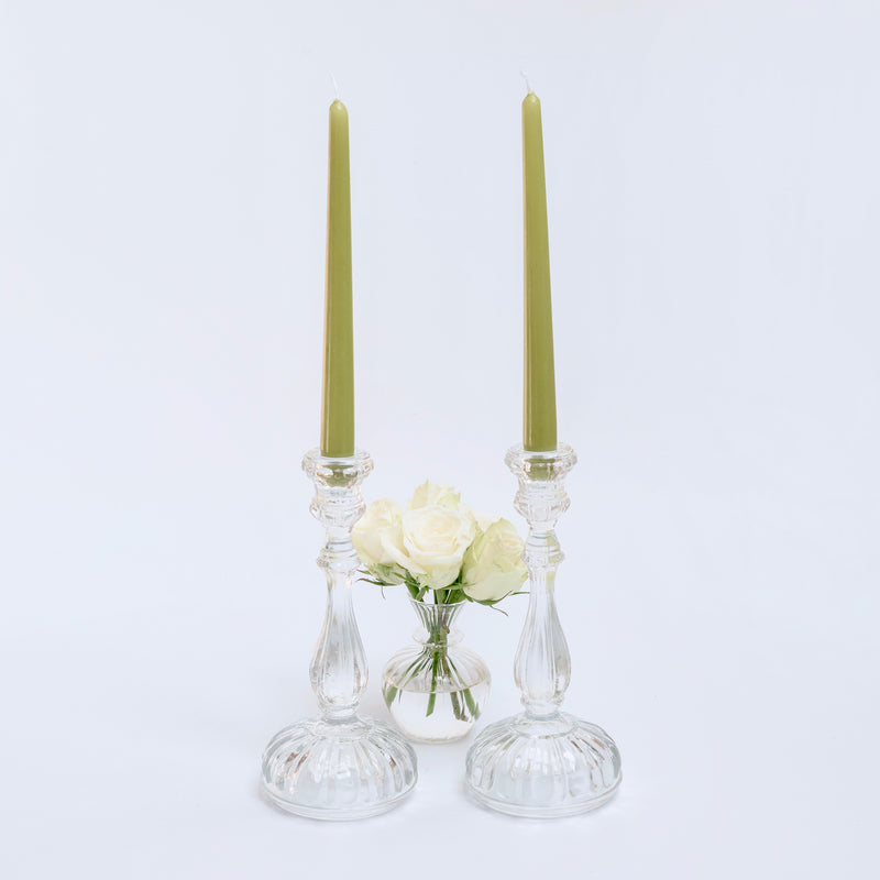 Clear Glass Candle Holders (pair)