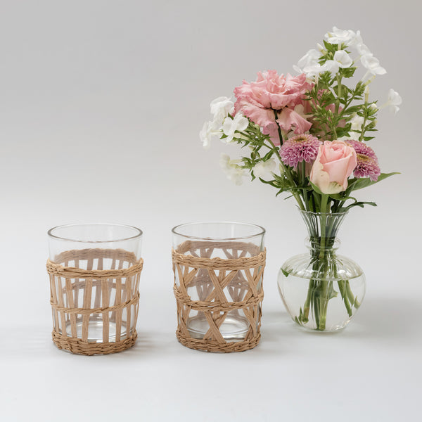 Mixed Raffia Glasses (Set of 6)