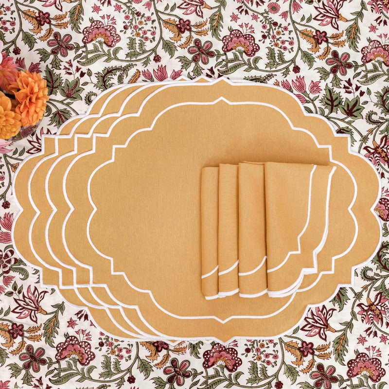 Poppy Mustard Placemats & Napkins (Set of 4)