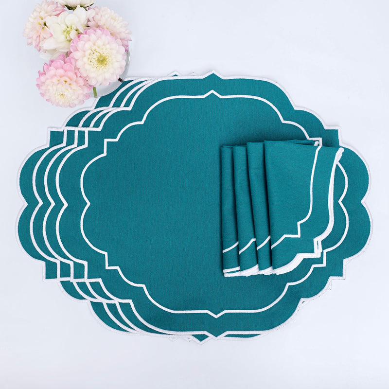 Poppy Teal Placemats & Napkins (Set of 4)