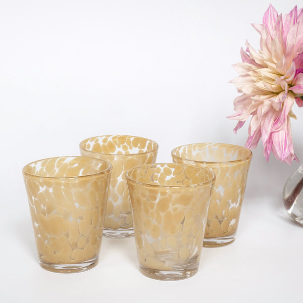 Poppy Mustard Dappled Water Glasses (Set of 4)