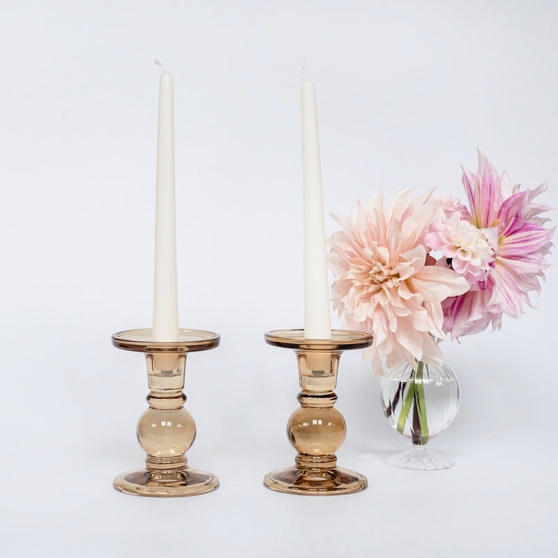 Small Amber Candle Holders (Pair)