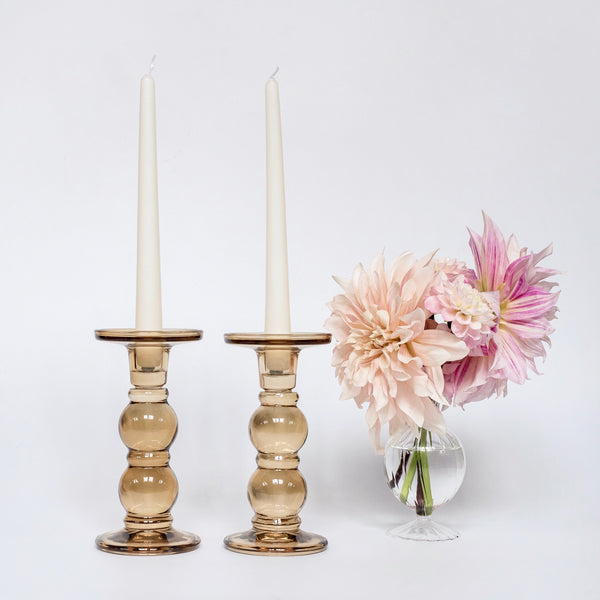 Large Amber Candle Holders (Pair)