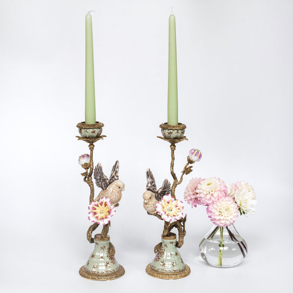 Sparrow & Passion Flower Candle Holder (Pair)