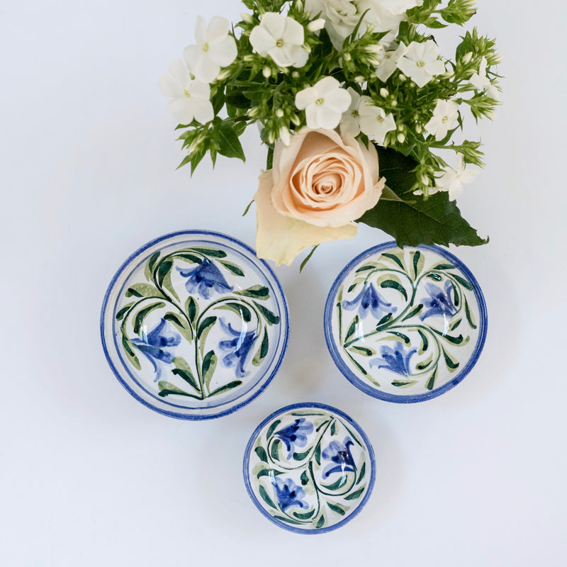 Hand Painted Bluebell Mini Bowls (Set of 3)