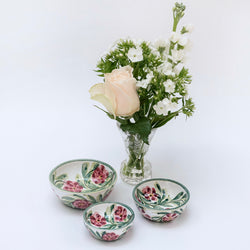 Hand Painted Rose Mini Bowls (Set of 3)