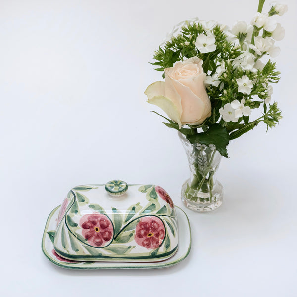 Hand Painted Rose Butter Dish