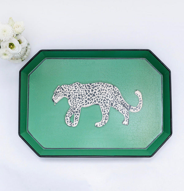 Hand Painted Leopard Tray