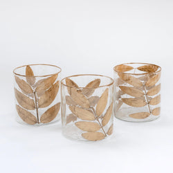Large Gold Leaf Vases (Set of 3)