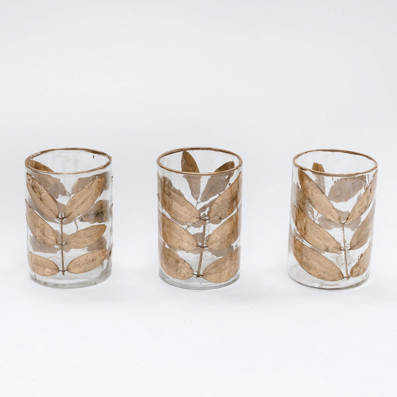 Gold Leaf Vases (set of 3)