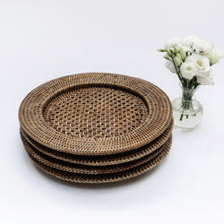 Walnut Brown Rattan Chargers (Set of 4)