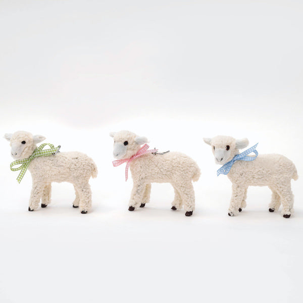Mini Flock of Gingham Lambs (Set of 3)