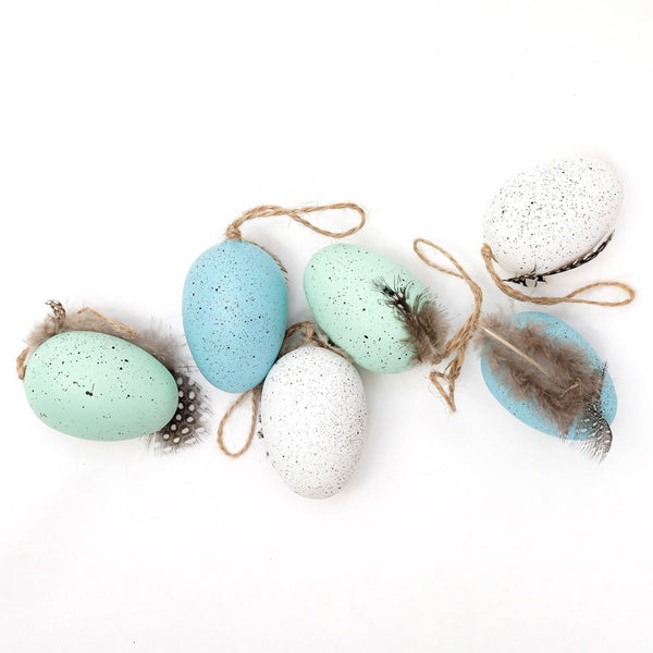 Blue & White Speckled Eggs (Set of 6)