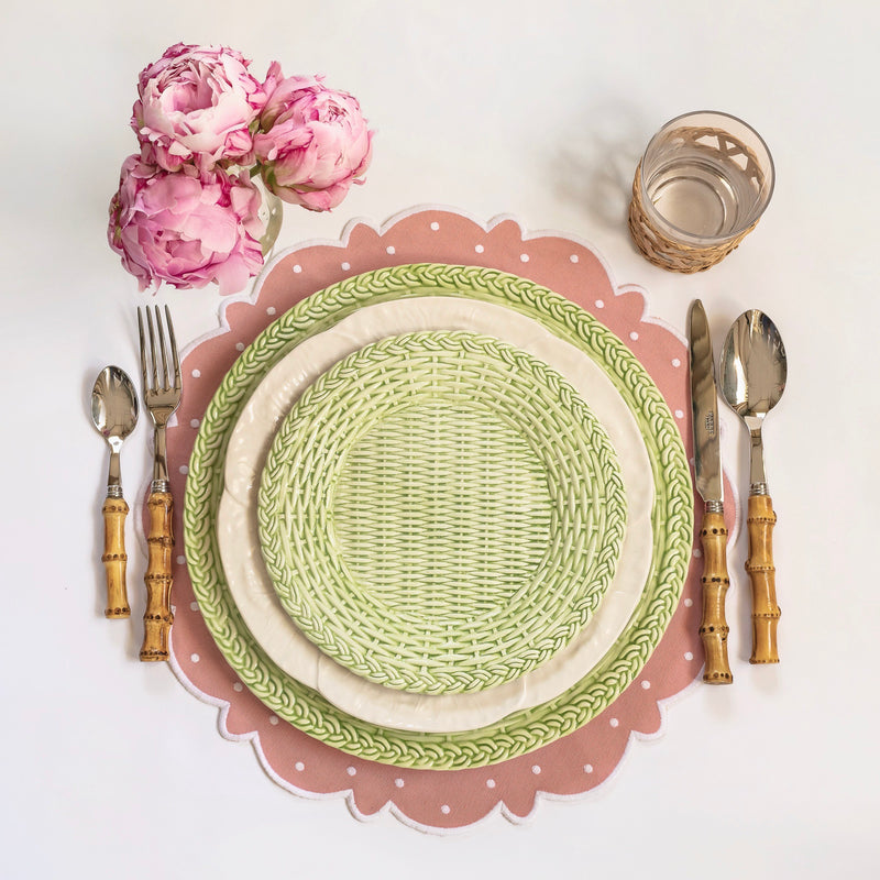 Small Apple Green Woven Plate