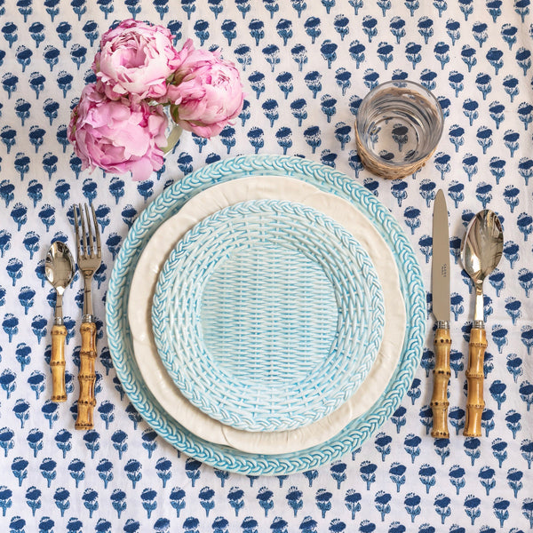 Small Sky Blue Woven Plate