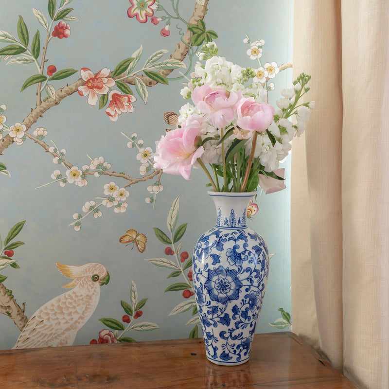 Blue and White Tall Chinoiserie Vase