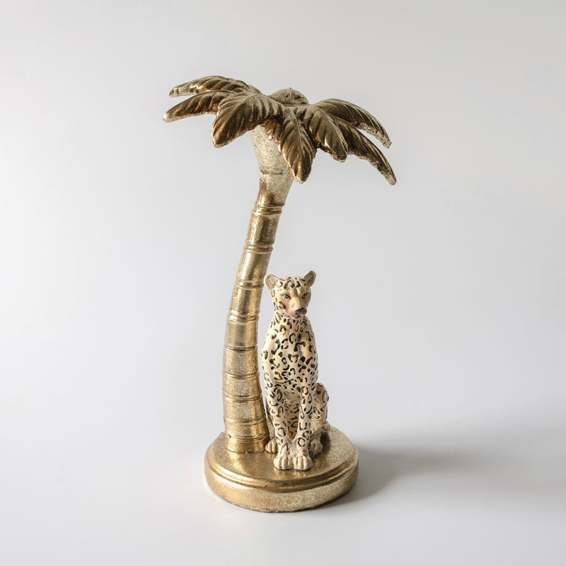 Leopard & Palm Candlestick Holder